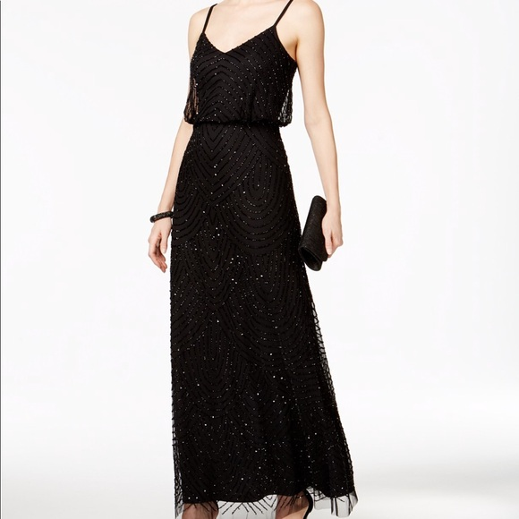 Adrianna Papell Dresses | Black Beaded Gown | Poshmark